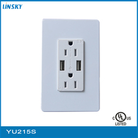 Electrical USB Charger Wall Outlet 3.1 Amp Dual USB High Speed Fast Charging Port + 2 AC Power Plug Socket