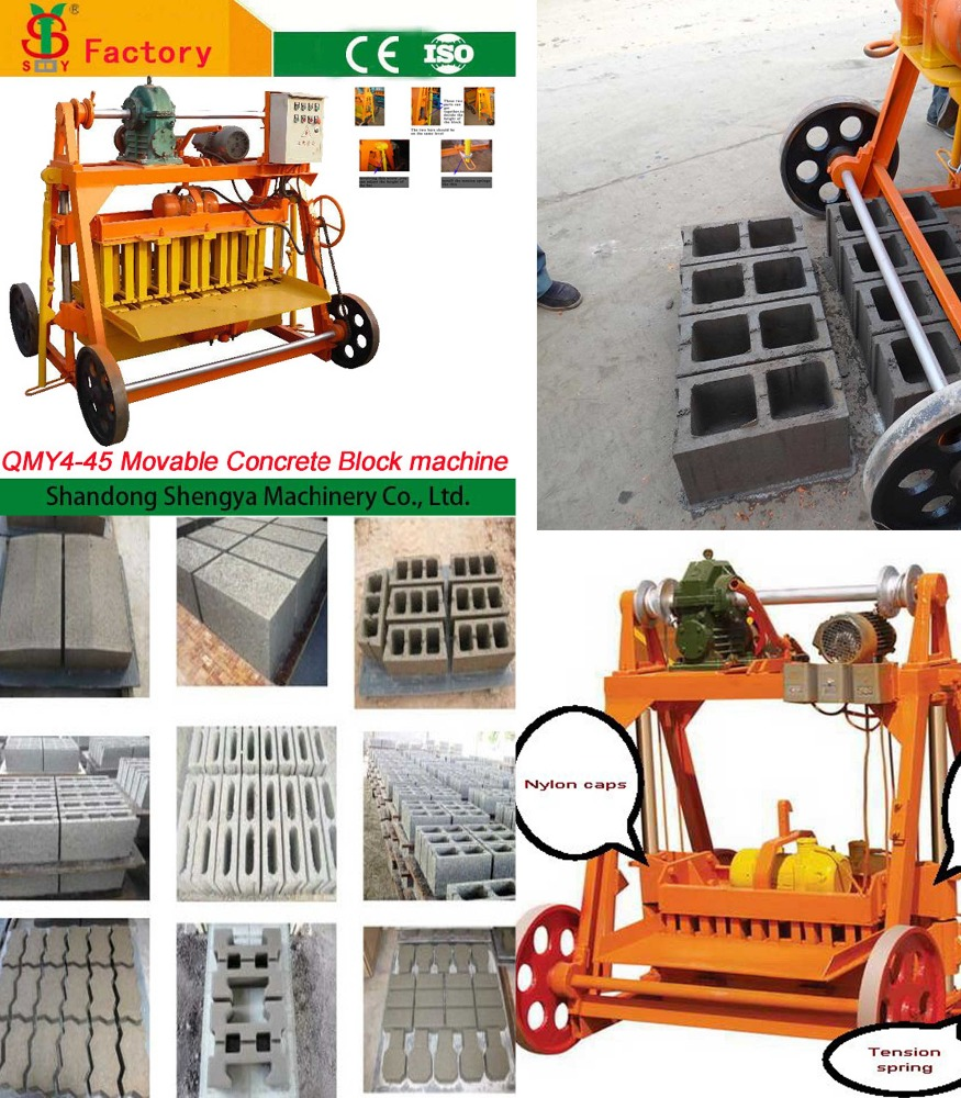 China suppliers of QMY4-45 small scale manual operated cement hollow block making machine,fly ash brick machine price Nigera