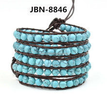 Fashion leather turquoise bracelet wholesale JBN-8846
