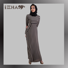 2017 new design htephanie long stripe chiffon maxi abaya dress