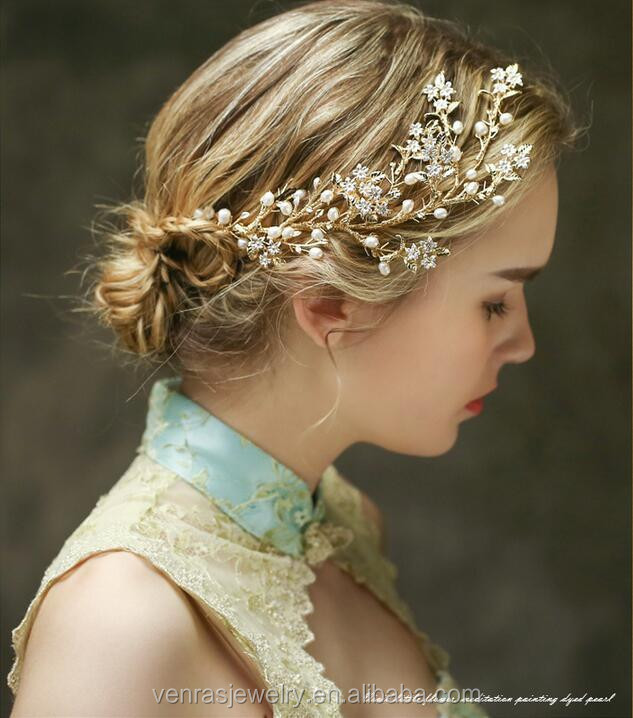 Bridal Jewelry Wholesale Handmade Gold Wedding Braided Hairpiece Headband for Girls