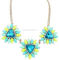 Turquoise and Crystal Triangle Floral Necklace