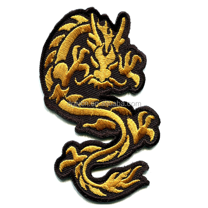 New design hight quality iron on Chinese dragon cool embroidered patch