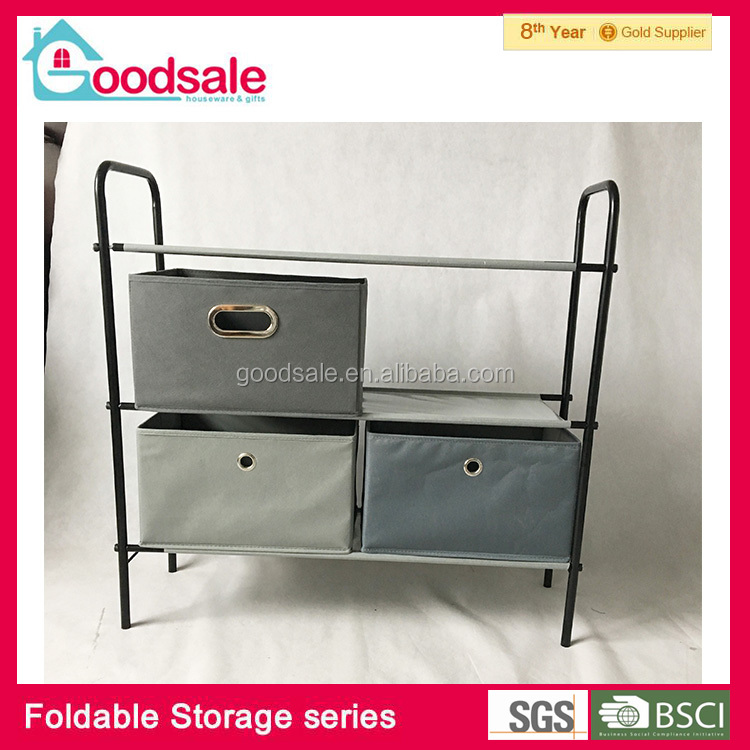 Convenient assembly portable metal roll nonwoven storage rack shelf multi-layer