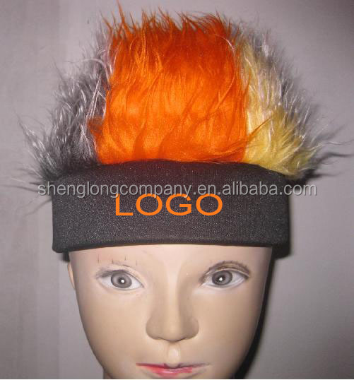 Crazy football fan wig/football fan wigs hair/football fans headband can add custom logo