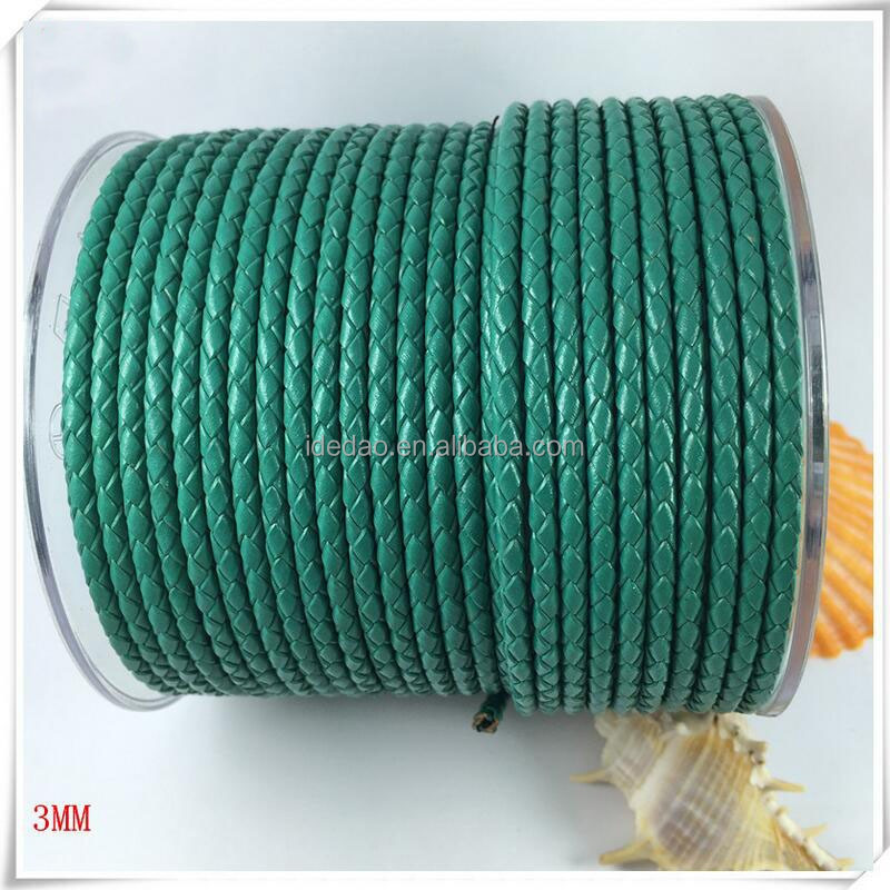 china wholesale 3mm real flat braided leather cord double extension cord