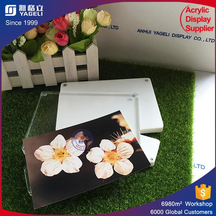 Clear and Simple Printing Picture acrylic vase with photo frame