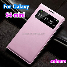 PU leather case cover for Samsung Galaxy S4 Mini I9190 smart phone window case for i9190