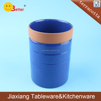 deep bule terracotta pen container