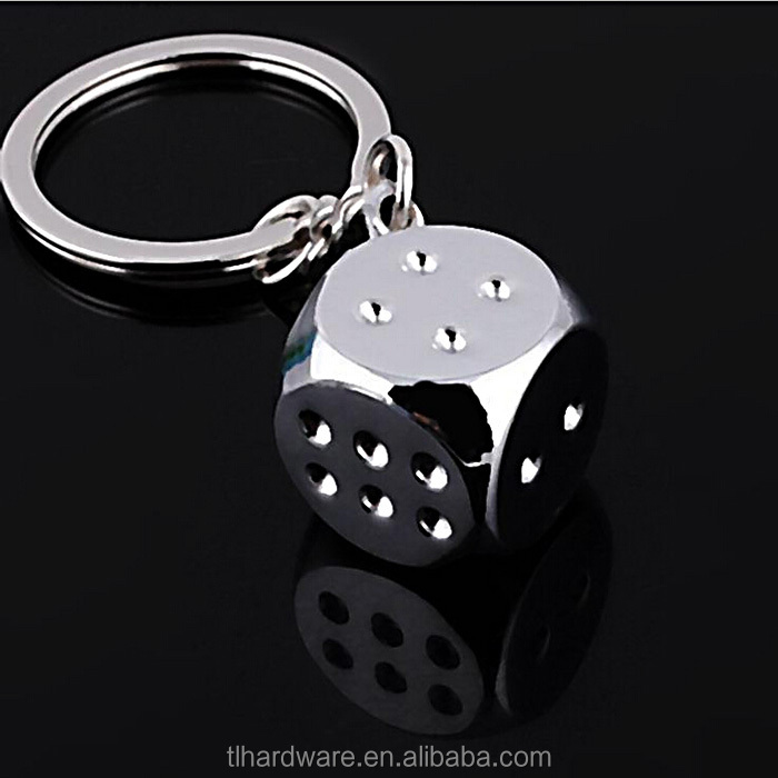 Custom metal Game dice keychain / promotional 2D game dice keyring