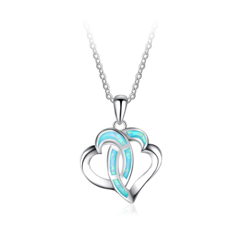 double heart 925 sterling silver pendant for valentine's day