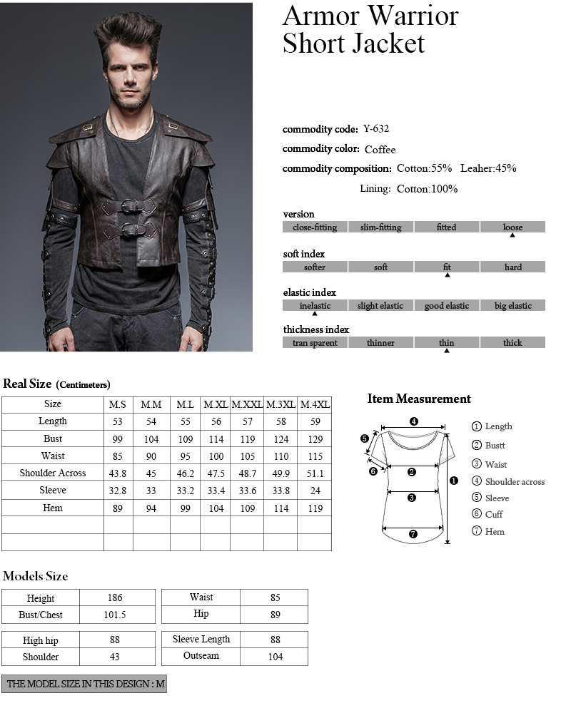 Y-632 Coffee cool spring military uniform soldier man short leather jackets