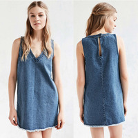 China Supplier New Design Sleeveless Women Casual Denim V-neckline Party Dresses Blank Fashion Lady Clothing