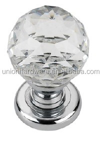 55MM CLEAR CRYSTAL GLASS MORTICE DOOR KNOB, CRYSTAL DOOR KNOB POLISHED CHROME