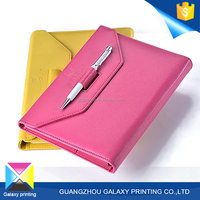 Hot sale promotional cheap custom pu leather travel student exercise notebook with pen