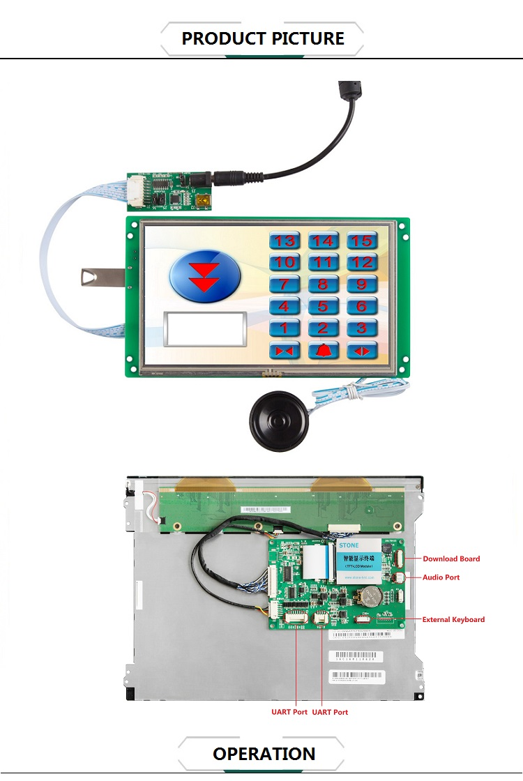 STONE 12.1 inch resistive touch screen with rs232 interface and control system and cpu driver