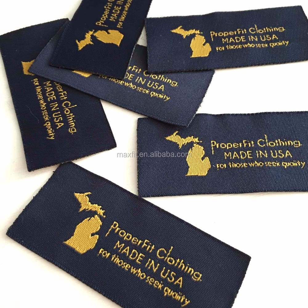 high quality center fold custom damask woven labels for clothing