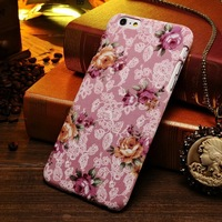 Rose flower polyester skin european style colorful minion case for Iphone 6 4.7 5.5 inch