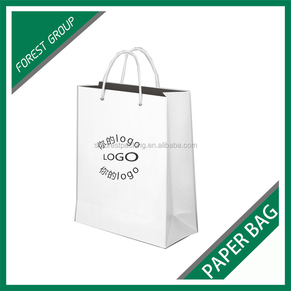 MATT LAMINATION WHITE SHOPPING PAPER BAG FOR PACKAGING WITH CUSTOM PRINT LOGO AND PRINTING