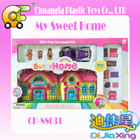 Wholesale suitcase villa toys plastic house toys with doll