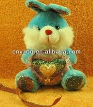 lovely plush rabbit/bunny with heart toy for kids and girls gift