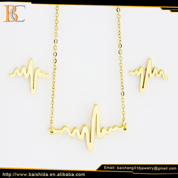 new models electrocardiogram dainty 18k gold plated jewelry sets
