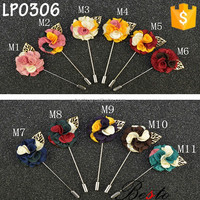 2016 Wholesale vintage mixed color flower lapel pins with metal leaf for men suits