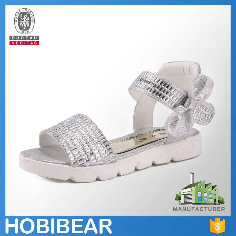 HOBIBEAR 2015 girl silver shining paillette sandals bow elegant children flat dress shoes
