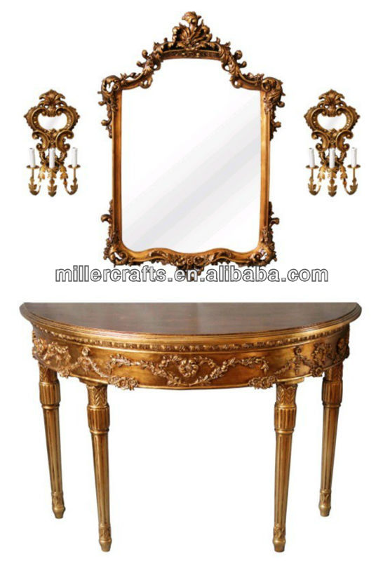 antique console table with mirror