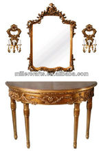Gold Color Antique Reproduction Console Table with Mirror