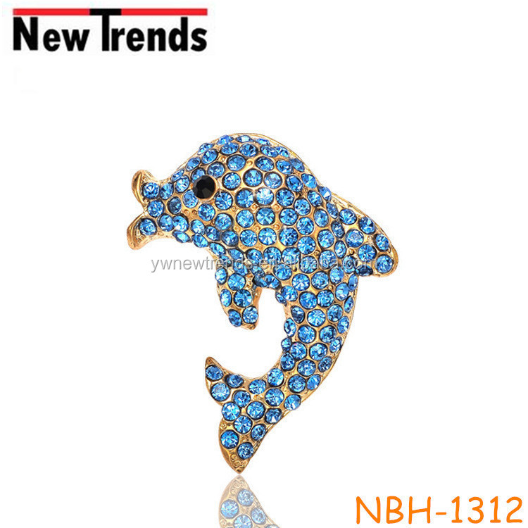 Gold plated animal blue diamond dolphin corsage brooch pin sweet couple alloy brooch