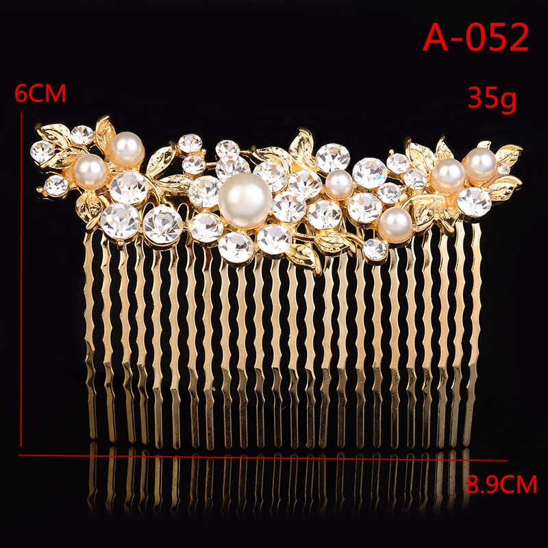 A052 Leaf Style Hair Pin Bridal Hair Comb for Wedding Crystal Rhinestones Decor