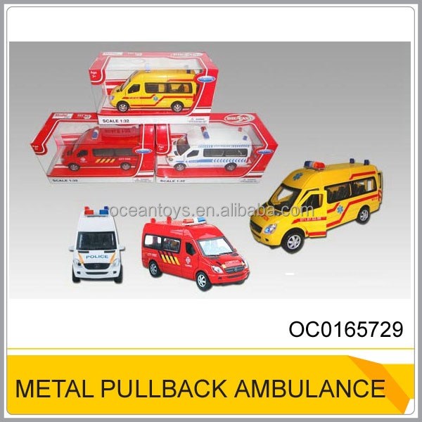 Hot 1:32 Die-cast Pull back Ambulance car With Light,music and open door OC0165729