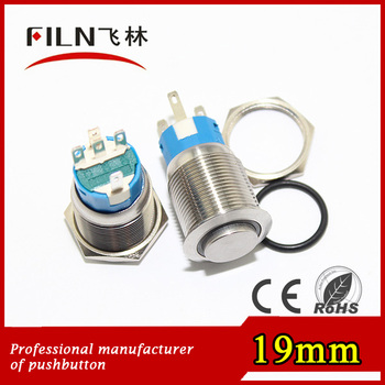 FLM19N-H11-E 19mm metal stainless steel High Flat 6v Red led waterproof cover pushbutton switch