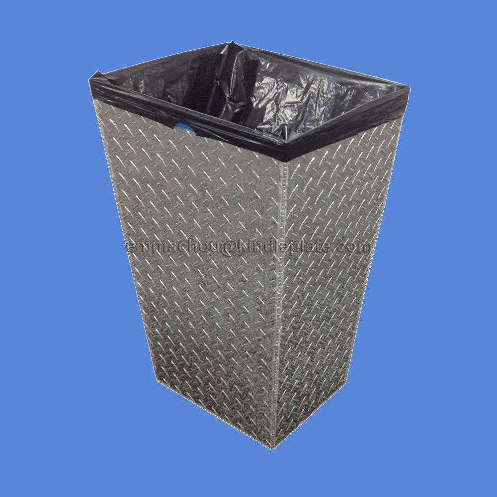 16-Gallon Metal Medical <strong>Waste</strong> Bin - Diamond Plate