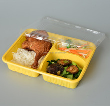3 compostable plastic eco-friendly lunch box/ compartment & collapsible /disposable food container