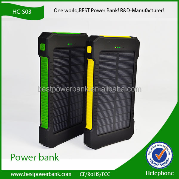 HC-S03 2016 innovative products solar power bank 10000mah waterproof solar power bank charger for iphone6/6s/xiaomi