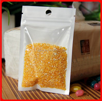 8.5*16cm White / Clear Self Seal Resealable Zipper Plastic Retail Packaging Pack Bag W/ Hang Hole