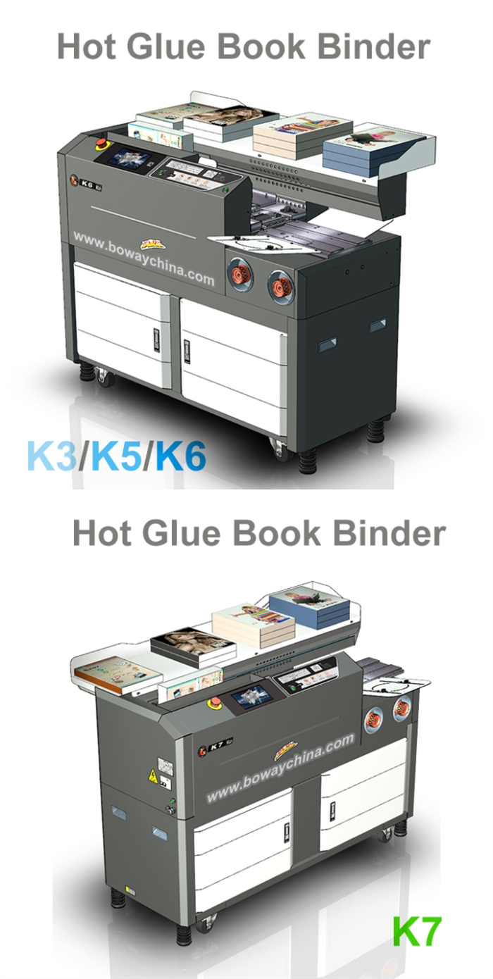 200-350 Books/Hour K3 K5 BOWAY 335mm L 60mm H Hot Heated Gule 7 inch Touch Screen Book Binder Binding Bind Machine