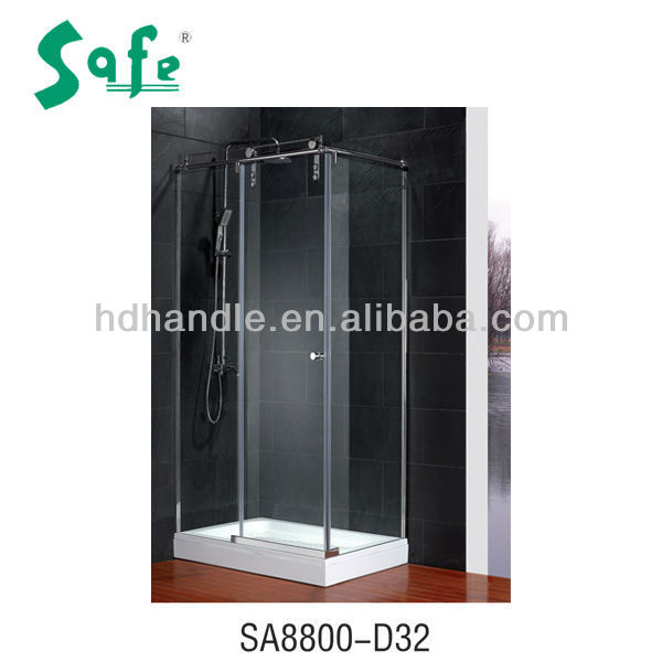 Stainless steel frameless sliding glass door bath shower enclosure with marble tray