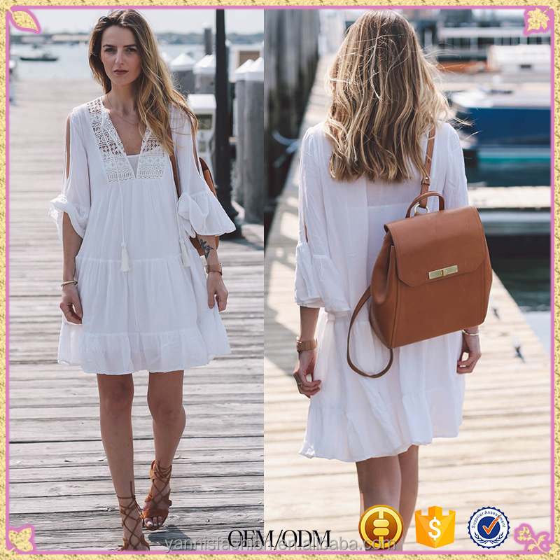 Women hook flowers loose large size beach clothes swimsuit coat bikini blouse sunscreen cotton lantern sleeve slits cover ups