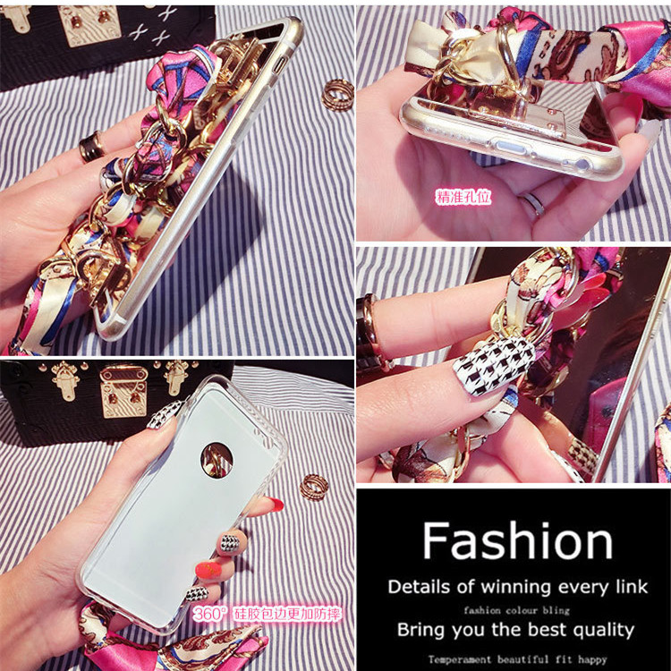 Korean mobile phone creative silk scarf jewelry pendant silicone protective case for apple 6 plus