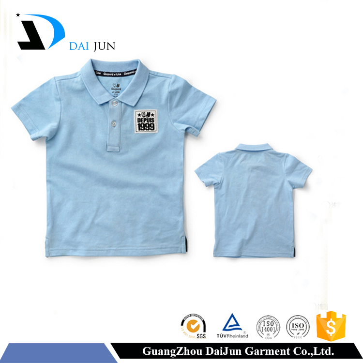 Daijun OEM short sleeve pique comfortable dry fit boys ' blue kids polo shirts wholesale