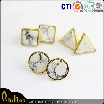 Stud White Turquoise Earring Circle stud,Geometric Earring