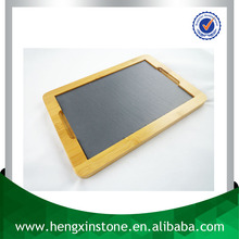 Factory Direct Sales Wholesale 36*25*2cm Rectangle Slate Plate With Bamboo Base Stone Serving Tray With Bamboo Base