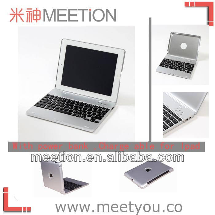 Ergonomic Aluminum alloy bluetooth keyboad case for ipad2/3/4