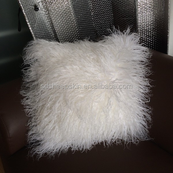 Real Mongolian Long Hair Lamb Not Faux Fur Home Pillow Cushion Cover