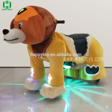 Happy spotlight animal rides plush electric scooter dog walking machine for sale