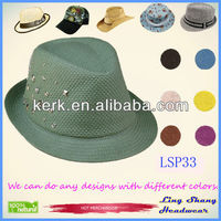 LSP33 Wholesale Small Diamonds vintage plain straw hat