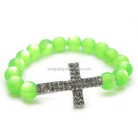 slippy glass beads bracelet ,catholic rosary bracelet with a big cross